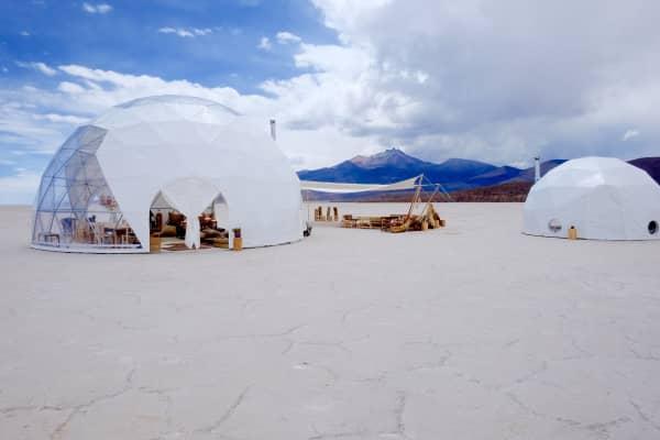 Dome tents on Uyuni salt flats in Bolivia