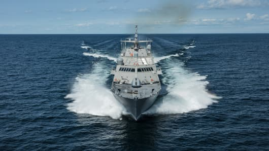 The future USS Little Rock (LCS 9), the fifth Freedom-variant LCS delivered to the U.S. Navy, underway during Acceptance Trials in Lake Michigan on August 25, 2017. The future USS Little Rock (LCS 9) will be commissioned in Buffalo later this year.