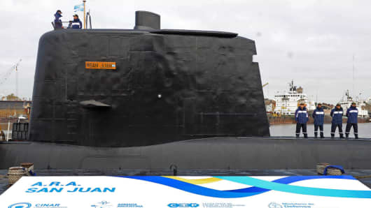 File picture released by Telam showing the ARA San Juan submarine being delivered to the Argentine Navy after being repaired at the Argentine Naval Industrial Complex (CINAR) in Buenos Aires, on May 23, 2014. The Argentine submarine is currently missing in Argentine waters.