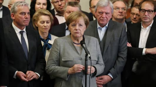 German Chancellor Angela Merkel speaks to the media after preliminary coalition talks collapsed on November 19, 2017 in Berlin, Germany.