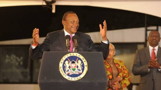 Kenya's President Uhuru Kenyatta speaks following the official announcement of election results on August 11, 2017, in the capital Nairobi.