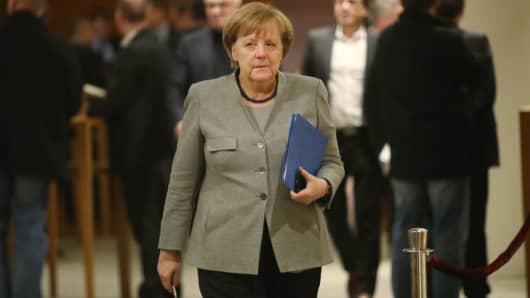 German Chancellor and head of the German Christian Democrats (CDU) Angela Merkel attends preliminary coalition talks that later collapsed.