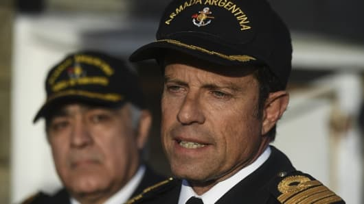 Warship captain Gabriel Galeazzi speaks with journalists at Argentina's Navy base in Mar del Plata, on the Atlantic coast south of Buenos Aires, on November 19, 2017.