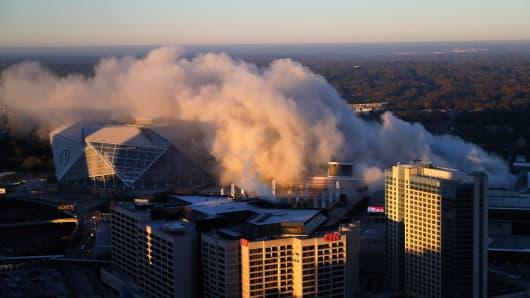 A view of the Georgia Dome implosion on November 20, 2017 in Atlanta, Georgia.