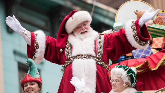 Santa Claus and Mrs Claus attend the 90th Annual Macy's Thanksgiving Day Parade on November 24, 2016 in New York City.