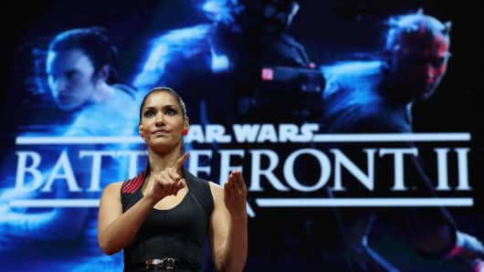 ctress Janina Gavankar introduces 'Star Wars Battlefront 2' during the Electronic Arts EA Play event at the Hollywood Palladium on June 10, 2017 in Los Angeles, California.