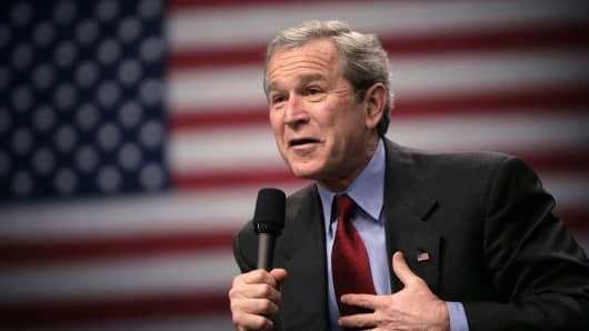 President George W. Bush speaks at a conversation about Social Security in Louisville, Kentucky, March 10, 2005.