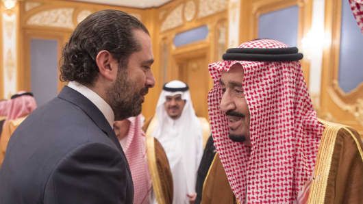 King of Saudi Arabia Salman bin Abdulaziz Al Saud (R) shakes hands with Former Prime Minister of Lebanon Saad Hariri (L), who resigned recently, at King Salman Air Base Airport in Riyadh, Saudi Arabia on November 11, 2017.