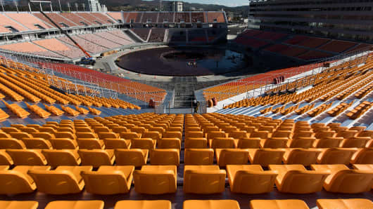 Seats are seen at the Pyeongchang Olympic Stadium, the venue for the opening and closing ceremonies at the 2018 PyeongChang Winter Olympic Games.