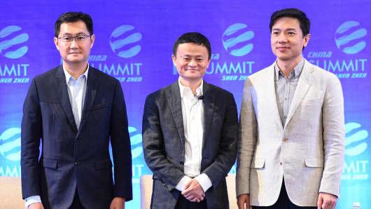 Tencent CEO Pony Ma Huateng, Alibaba's Jack Ma and Baidu CEO Robin Li, attend the China IT Summit 2017 at Shenzhen Wuzhou Guest House.