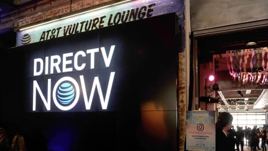 DirectTV Now signage in the AT&T Vulture Lounge during the 2017 Vulture Festival at Highline Stages on May 21, 2017 in New York City.