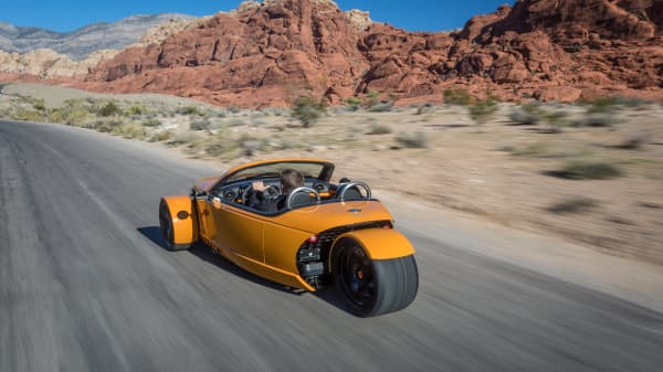 This 3-wheeled roadster is a cross between a motorcycle and a car