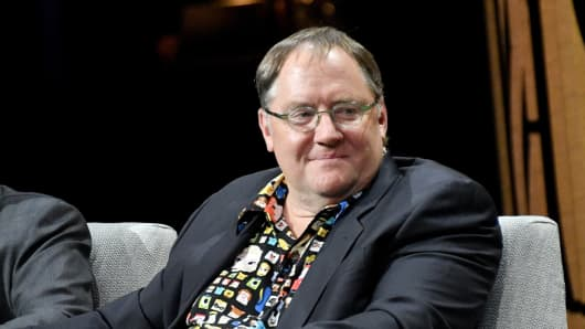 John Lasseter speaks onstage during 'Inside the House of Disney' at the Vanity Fair New Establishment Summit in San Francisco, California.