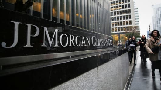 A sign of JP Morgan Chase Bank is seen in front of their headquarters tower in New York