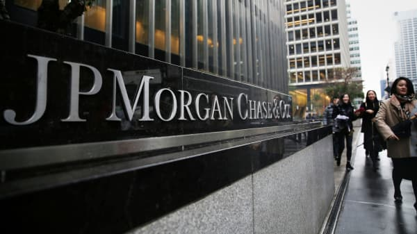 A sign of JP Morgan Chase Bank is seen in front of their headquarters tower in New York.