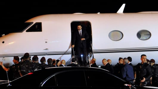 Former Lebanese Prime Minister Saad Hariri is landed in the capital Beirut on November 22, 2017 for the first time since his resignation on November 4.