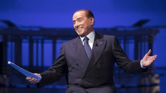 Former Italian Prime Minister Silvio Berlusconi attends the political show 'Porta a Porta' at RAIÕs broadcast studios, on November 16, 2017 in Rome, Italy.