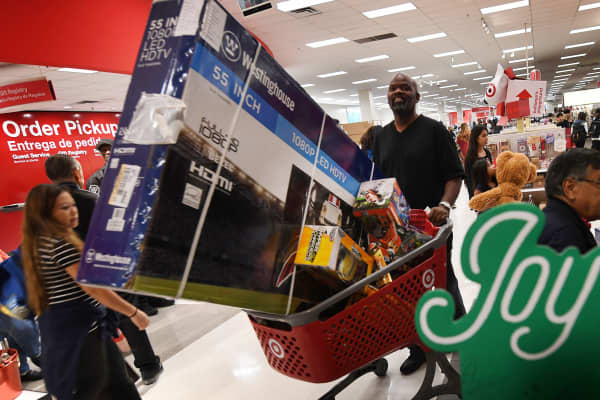 Thanksgiving Day shoppers push loaded up carts during the 'Black Friday' sales at a Target store in Culver City, California.