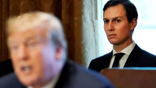 White House Senior adviser Jared Kushner sits behind U.S. President Donald Trump during a cabinet meeting at the White House in Washington, U.S., November 1, 2017.
