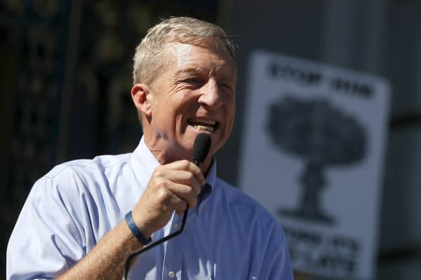 Billionaire Tom Steyer speaks during a rally and press conference at San Francisco City Hall on October 24, 2017 in San Francisco, California.