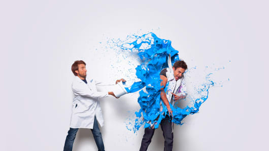 The Slow Mo Guys Gavin Free (left) and Daniel Charles Gruchy.