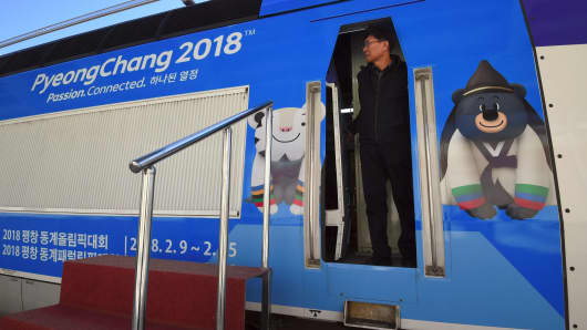 A KTX (Korea Train Express) bullet train, decorated with the mascots of the 2018 PyeongChang Winter Olympics, during a press tour of the new train line for the upcoming Winter Olympics at Gangneung station in Gangneung, an Olympic venue, on November 21, 2017.