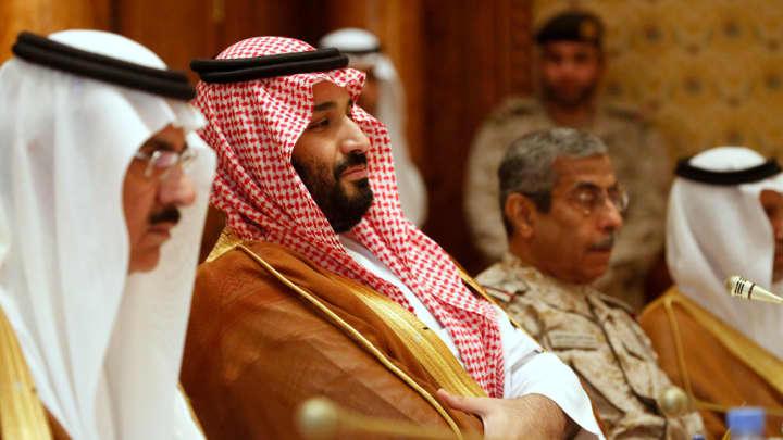 Saudi Arabia's Deputy Crown Prince and Defense Minister Mohammed bin Salman (2nd L) takes his seat to meet with U.S. Defense Secretary James Mattis and his delegation on April 19, 2017 in Riyadh, Saudi Arabia.