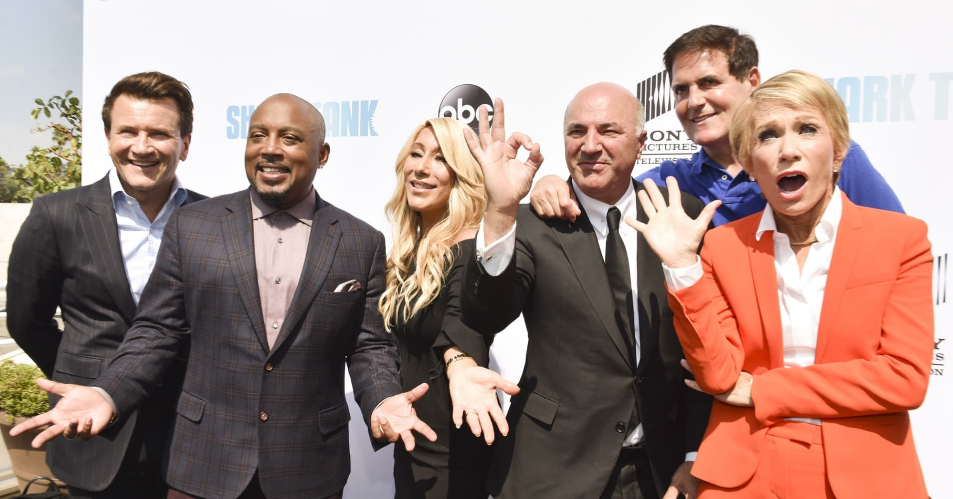 Sharks Robert Herjavec, Daymond John, Lori Greiner, Kevin O'Leary, Mark Cuban, and Barbara Corcoran attend the premiere of ABC's 'Shark Tank' Season 9 at The Paley Center for Media on September 20, 2017 in Beverly Hills, California.