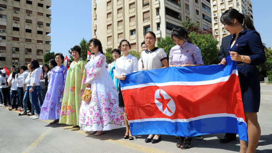 August 31, 2015: A ceremony to name a park in Damascus after Kim Il-sung, North Korea's founding father within the Syrian metropolis's Kafar Susseh neighborhood