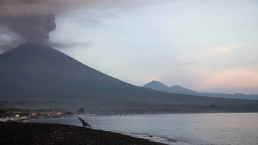 Mount Agung erupted, sending ashes to within a 7 km radius of the mountain area on Nov. 27, 2017 in Bali, Indonesia.