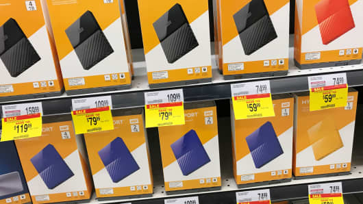 Western Digital hard drives are shown for sale at an Office Depot Inc store in Encinitas, California.