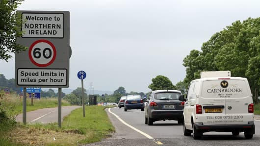 Cars cross the controless border between Ireland and Northern Ireland, in Donegal, Ireland on June 25, 2016