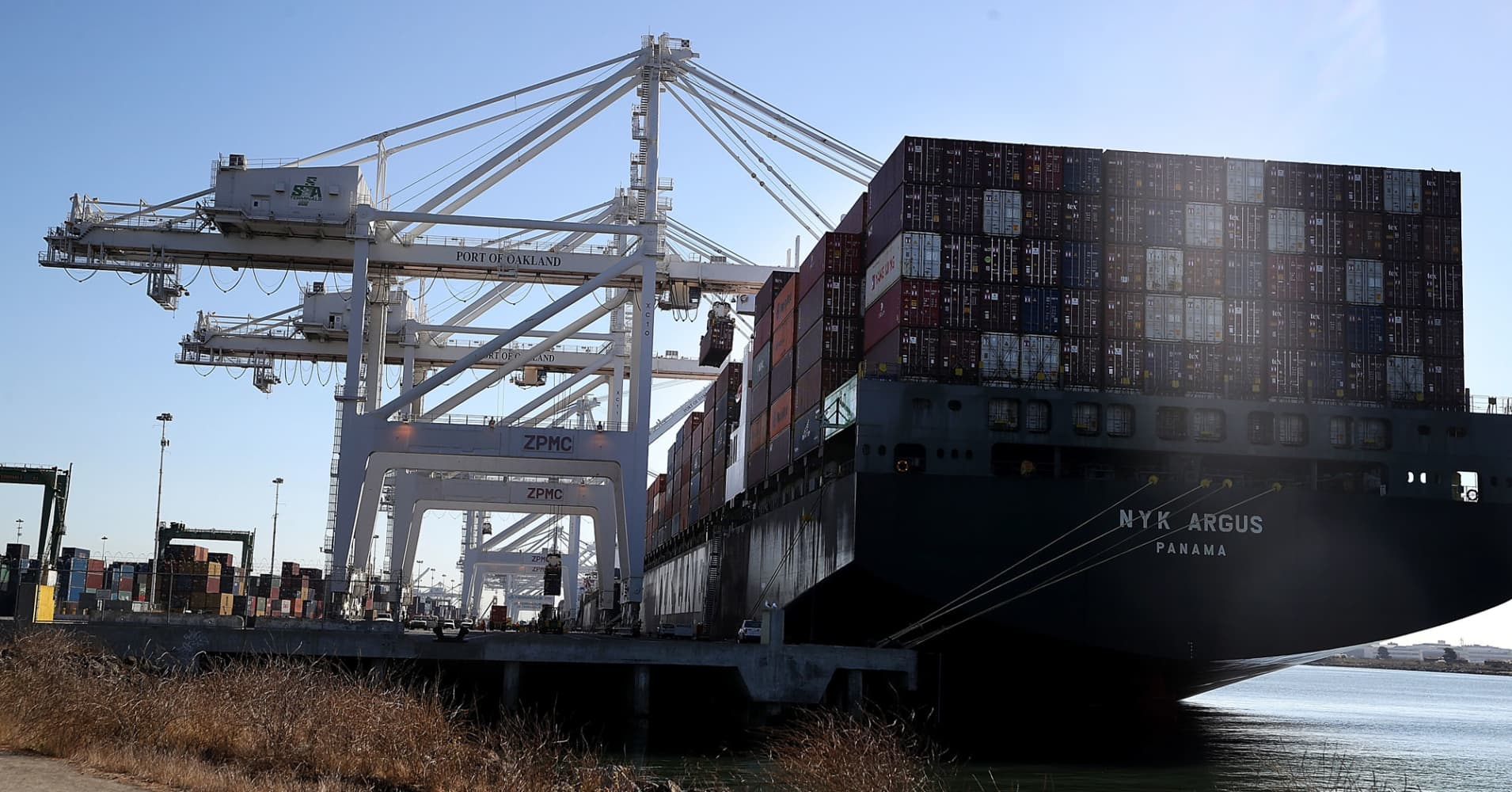A container ship at the Port of Oakland in Oakland, California.