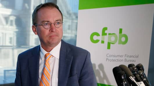 Office of Management and Budget (OMB) Director Mick Mulvaney arrives to speak to the media at the U.S. Consumer Financial Protection Bureau (CFPB), where he began work earlier in the day after being named acting director by U.S. President Donald Trump in Washington November 27, 2017.