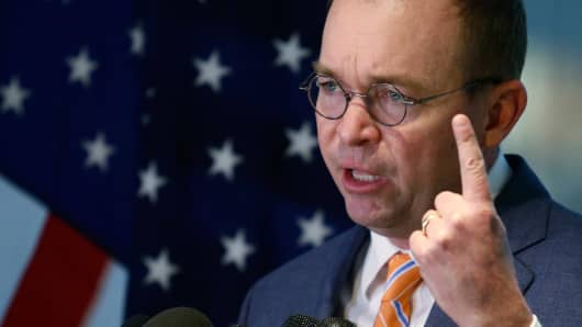 Office of Management and Budget (OMB) Director Mick Mulvaney speaks to the media at the U.S. Consumer Financial Protection Bureau (CFPB), where he began work earlier in the day after being named acting director by U.S. President Donald Trump in Washington November 27, 2017.