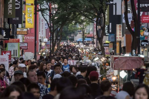 Shoppers in the Myeongdong area of Seoul, South Korea, on May 18, 2017.