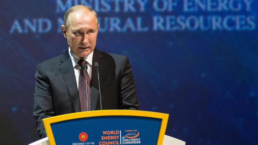 Vladimir Putin, Russia's president, speaks during the 23rd World Energy Congress in Istanbul, Turkey, on Monday, Oct. 10, 2016.
