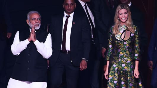 Indian Prime Minister Narendra Modi (L) and advisor to US President Ivanka Trump (R) arrives at the Global Entrepreneurship Summmit at the Hyderabad convention centre (HICC) in Hyderabad on November 28, 2017.