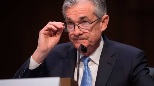 Jerome Powell, nominee to be chairman of the Federal Reserve Board of Governors, testifies during his confirmation hearing before the Senate Banking, Housing and Urban Affairs Committee on Capitol Hill in Washington, DC, November 28, 2017.