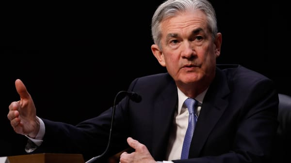 Jerome Powell, chairman of the U.S. Federal Reserve nominee for U.S. President Donald Trump, testifies at a Senate Banking Committee confirmation hearing in Washington, D.C., U.S., on Tuesday, Nov. 28, 2017.