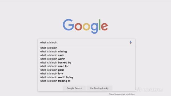 Google searches for bitcoin are soaring