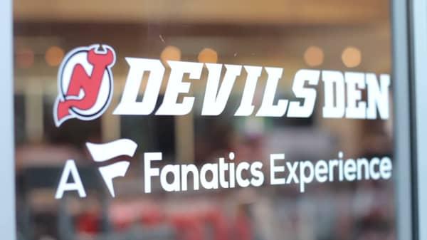 Fanatics logo on a New Jersey Devils store