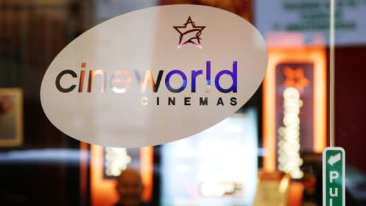 An exterior view of a Cineworld cinema in Piccadilly, central London.