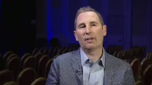 Amazon Web Services CEO Andy Jassy in an interview with CNBC's Jon Fortt at the 2017 AWS re:Invent conference in Las Vegas.