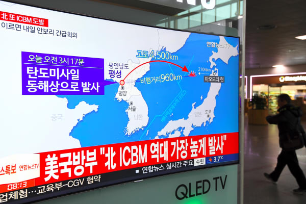 A television screen in Seoul showing a graphic of North Korea's latest missile launch on November 29, 2017.