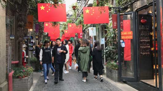 Visitors to Tianzifang, a popular shopping and cafe enclave in the French Concession area of Shanghai.