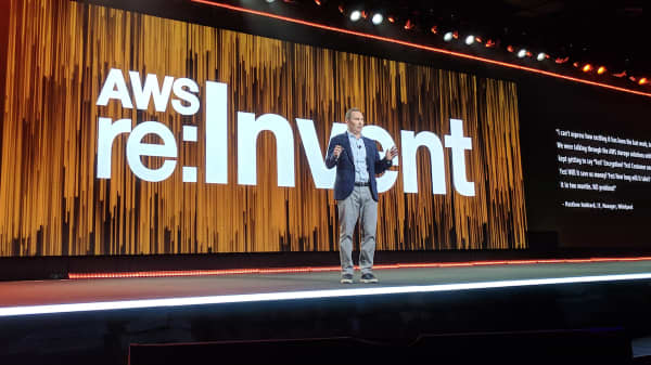Amazon Web Services CEO Andy Jassy speaks at the 2017 AWS re:Invent conference in Las Vegas.