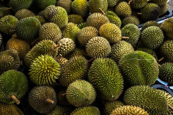 Durians sit stacked at a trader's road side stall in Titi, Negeri Sembilan, Malaysia.