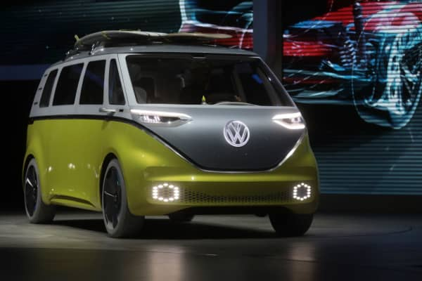 A Volkswagen AG (VW) I.D. Buzz camper van drives onto stage during the first media preview day of the IAA Frankfurt Motor Show in Frankfurt, Germany