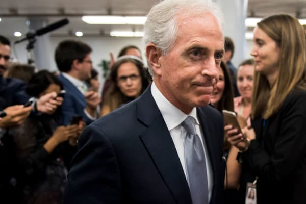 Sen. Bob Corker, R-Tenn., speaks to reporters as he leaves the Senate Republicans' policy lunch.